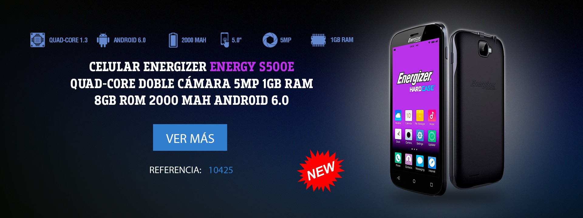 Celular Energizer Energy S500E Quad-Core Doble Cámara 5Mp 1GB Ram 8GB ROM 2000 Mah Android 6.0